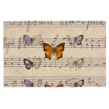 "Suzanne Carter ""Butterfly Opera"" Music Tan Decorative Door Mat"
