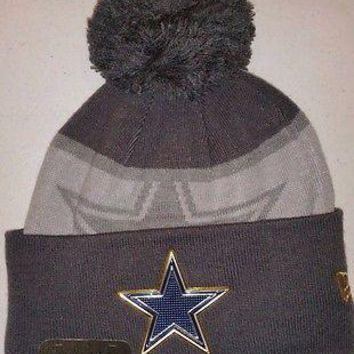 3d961007cc2 New Dallas Cowboys GOLD COLLECTION On FIELD Cuffed Beanie POM