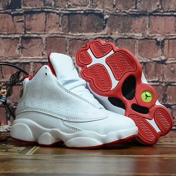 Kids Air Jordan 13 Retro White/Red Sneaker Shoe Size US 11C-3Y