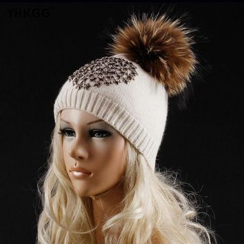 ESBU3C YHKGG 2016 Latest Fashion Five-pointed Star with A Diamond Winter Wool Knitted Beanies Warm Hat Knitted Cashmere