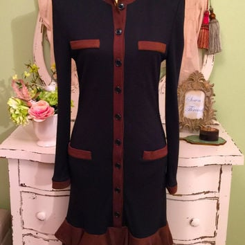 Vintage Oscar De La Renta Dress, Art Deco Flapper Style, Black n Brown Knit Dress, Couture Designer Dress, Italian Made, Womens Size Medium