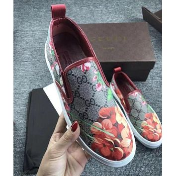 Gucci Flowers Design Loafer Shoes Flat Casual Shoes