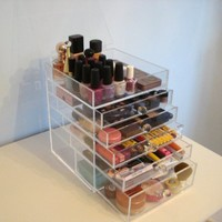 ACRYLIC MAKEUP COSMETICS ORGANIZER 5 DRAWER PLUS 1 LID BEAUTY CUBE STORAGE (Crystal knobs (handles))