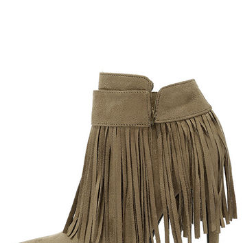 I'm Your Venus Taupe Grey Suede Fringe Booties