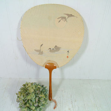 Vintage Paddle Fan with Wood Handle Watercolor Swans Scene on Rice Paper Asian Inspired Style Fan - Vintage Japanese Handmade Art Decor Fan