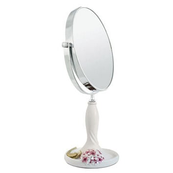 Continental Make-up Mirror 7-Inch Tabletop Two-Sided Cosmetic Mirror White/Pink