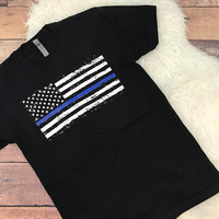 Thin Blue Line Unisex T Shirt • Screen Printed • Support • Family • Law Enforcement • Police • Trooper • Flag • Stars
