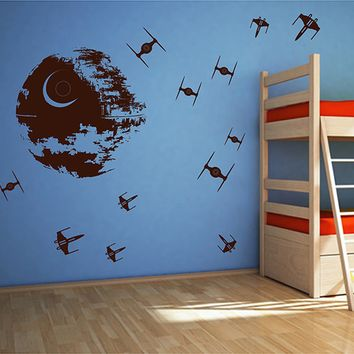 ik2726 Wall Decal Sticker Death Star Star Wars space ships nursery teenager