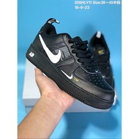 KUYOU N593 Nike Air Force 1 AF1 Off White TM Low Leather Skate Shoes Black White Yellow