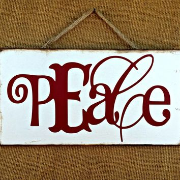 Peace Christmas Rustic Sign / Distressed Wooden Sign / Christmas Decor / FREE Shipping