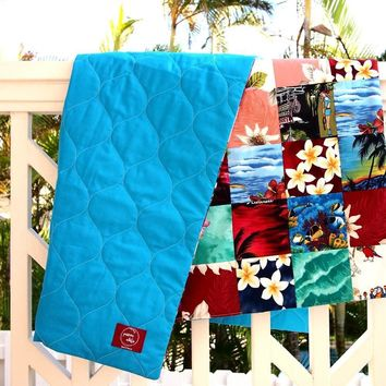 Blue Hawaiian Patchwork Throw