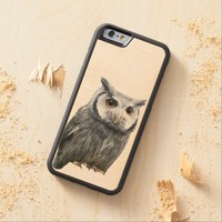 White Faced Owl iPhone 6 Bumper Maple Wood Case