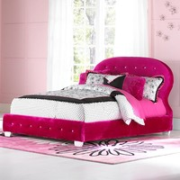 Marilyn Upholstered Full Bed in Pink w/ Two Pillows