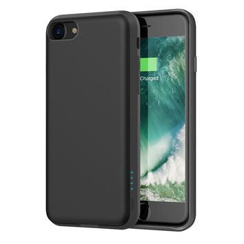 iPhone 8 / 7 Battery Case - Support Lightning Port Headphones, iDLEHANDS Charging Case, Rechargeable Battery Pack Power Case for iPhone 8 / 7, 2800mAh, Charge and Sync (Black)