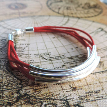 Red with Silver Noodle Bead Bracelet for Women - Birthday, Christmas, Teens, Girls, Gifts