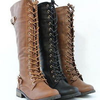 Women Knee High Lace Up Fashion Military Combat Boots Riding Style With Zipper