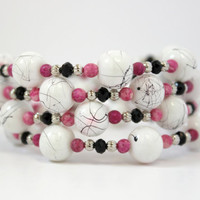 White, Black, and Pink Beaded Memory Wire Bracelet - Handmade Beaded Jewelry - One Size Fits All - OOAK - Ready to Ship
