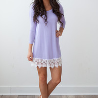 Lace Trim Solid Dress - Lilac
