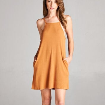 Carmel Ribbed High Neck Pocket Dress
