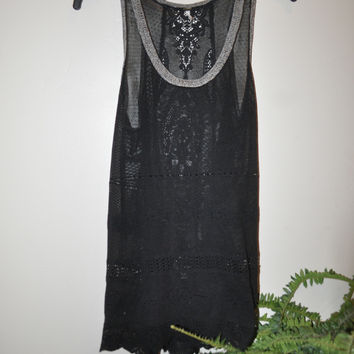 Free People Black Lace Tunic