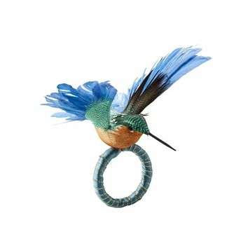 Humm Napkin Ring in Blue & Green - Set Of 4