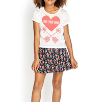 FOREVER 21 GIRLS Free Your Mind Tee (Kids) Cream/Red