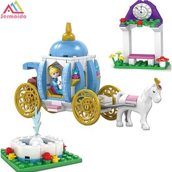sermoido Friends For Girl Building Blocks Princess Cinderella Pumpkin Carriage 37002 Set Toy Compatible With Lego DBP252