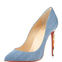 Christian Louboutin Pigalle Follies Denim Red Sole Pump, Blue/White