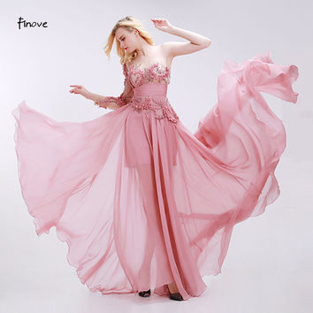 Finove Dusty Pink Bridesmaid Dresses See-Through Tulle with Appliques Beading 2017 Modern Empire One Shoulder Chiffon Dresses