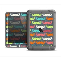 The Colorful Scratched Mustache Pattern Apple iPad Mini LifeProof Nuud Case Skin Set