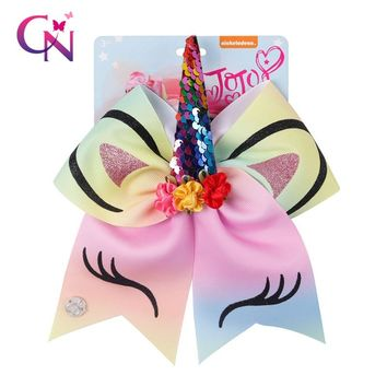 7 Inch Rainbow Unicorn Cheer Bows With Rubber Band For Girls Kids Reversible Sequin Ponytail Hair Bows Hair Accessories