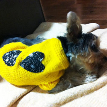 Dog clothes, dog jumper, hand knit , bright yellow with black hearts with silver designs on them. cat jumper pet clothes.