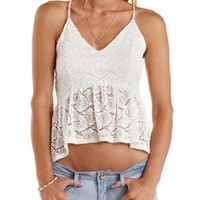White High-Low Lace Peplum Top by Charlotte Russe
