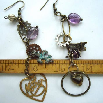 Assemblage Earrings, Boho Bohemian Asymmetrical Earrings, Mixed Metals, Unique Dangle Earrings, Long Charm Earrings, Steampunk Style