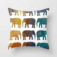 Elephant Walk Throw Pillow by C Designz