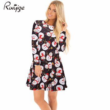 Ruiyige 2017 Autumn Women Christmas Snowman Snowflake Printed Mini Dresses Casual O-Neck Full Sleeve Stretch Santa Party Costume