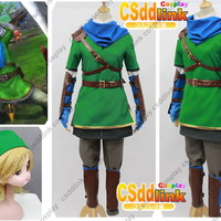 Legend of Zelda Hyrule Warriors Link Cosplay Costume with blue scarf