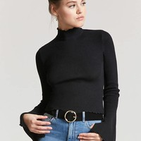 Lettuce-Edge Sweater-Knit Top