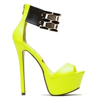 Flaunt Neon Yellow Open Toe Sandal Gold Band High Heel Shoes