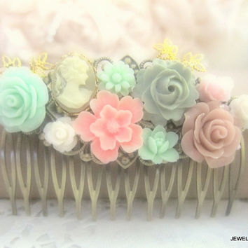 Pink Mint Green Hair Comb Pastel Colors Wedding Hair Accessories Floral Bridesmaid Hair Comb Flowers Soft Misty Bridal Hair Pin Shabby Chic
