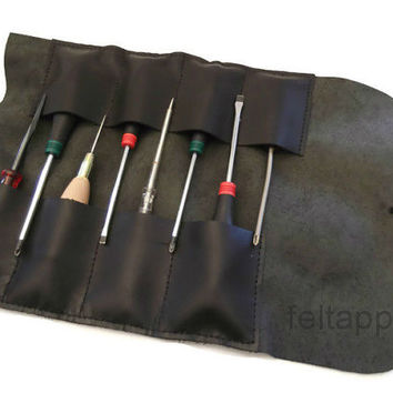 Leather Tool Roll, Leather Tool Bag, Bike Tool Roll, Tool Case, Leather Pencil Case, Paint Brush Case, Hand Stitched, Black Color