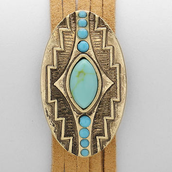 Aztec Howlite Suede Layered Bracelet, Boho Tribal Festival Cuff - Turquoise / Gold