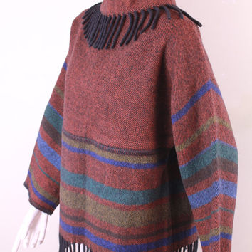 Vintage - 60/70s - Scandinavian - Lapp Lander - Burgundy & Blue Striped - Black Fringe - Wool Sweater - Norway - Norwegian