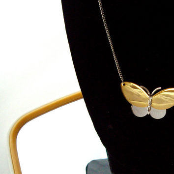 Vintage Avon Butterfly Necklace Gold Silver