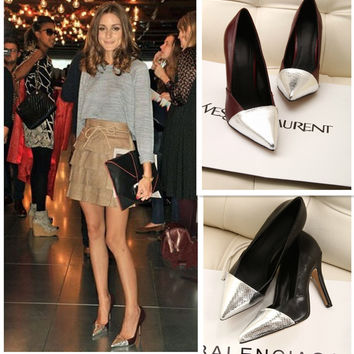 Pointed Toe Leather High Heel Shoes [4919951172]