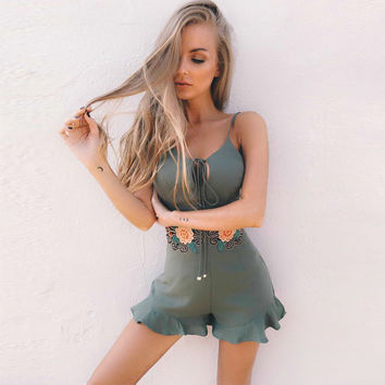 Fashion Strap Flower Embroidery Zipper Strappy Romper Jumpsuit