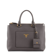 Prada Vitello Daino Zip Pebbled Leather Tote Bag, Gray