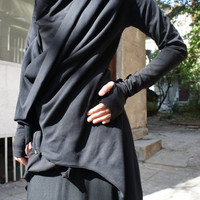 Spring Black Coat / Cotton  Coat / Extravagant  Asymmetrical   Blazer / Extra long  sleeves A07098