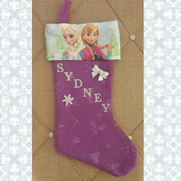 Personalized Frozen Stocking - Elsa and Anna - Christmas -  Girls Christmas Stocking - Tutu Stocking - Holidays