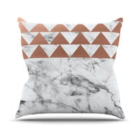 "KESS Original ""Marble & Metal"" White Copper Throw Pillow"